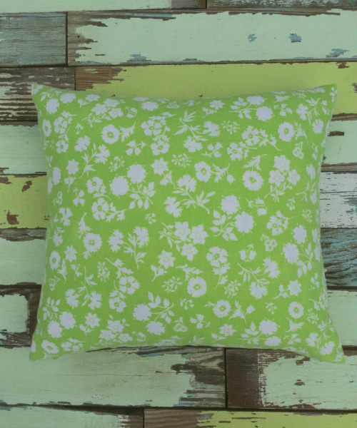 Lime Green Feedsack Pillow (square)