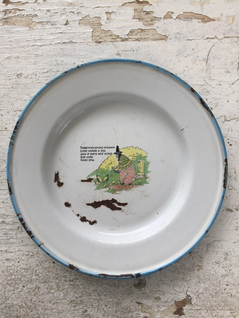 Old Woman Enamelware Plate